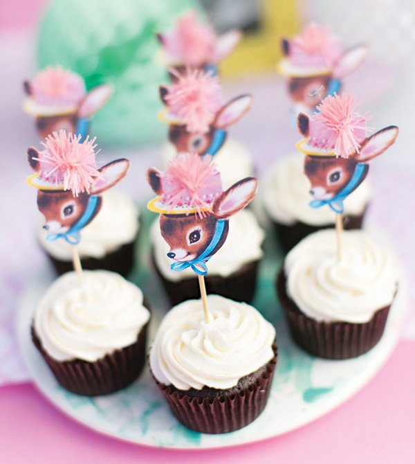 little deer silhouette topped cupcakes
