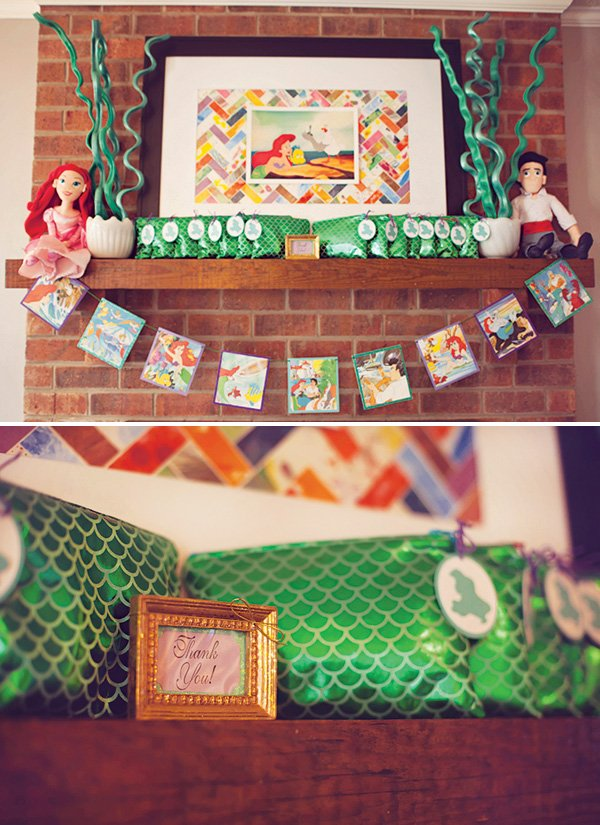 little mermaid birthday party mantle decorations and party favors