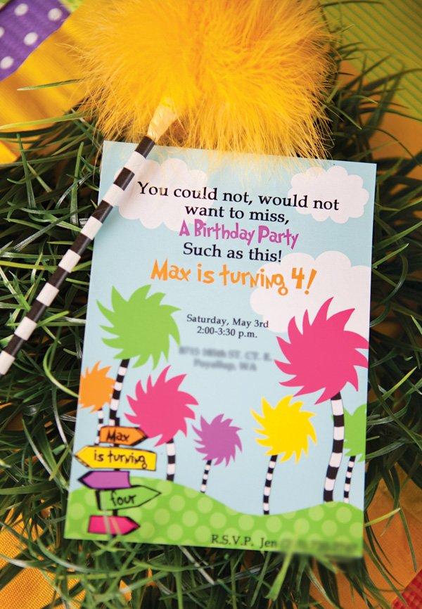 lorax birthday party invitation