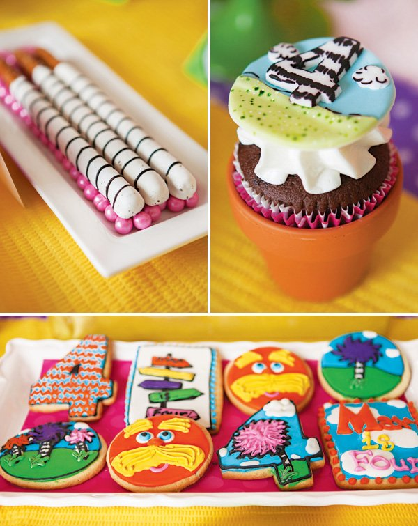 lorax party cookies, cupcakes and striped chocolate covered pretzels