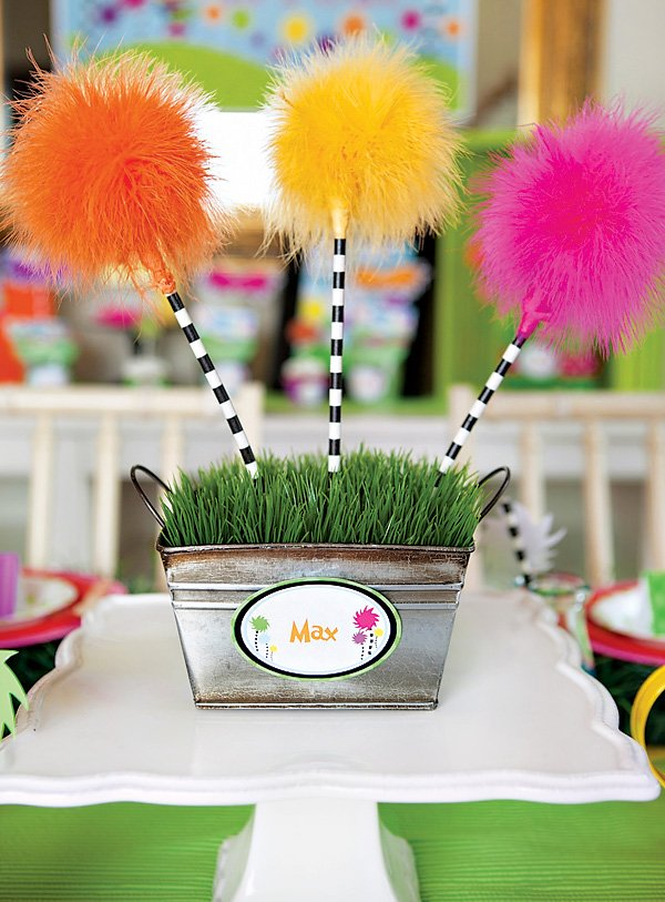 lorax truffula tree table centerpiece
