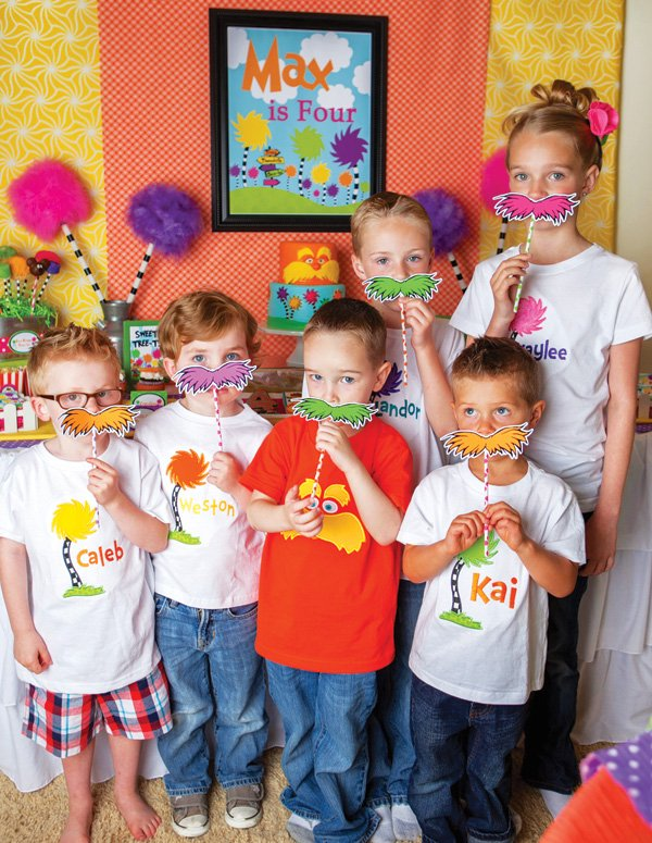 lorax mustache photo booth props for kids