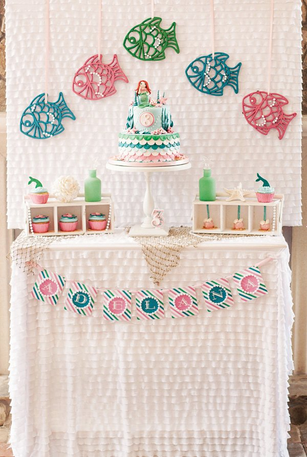 mermaid birthday party dessert table