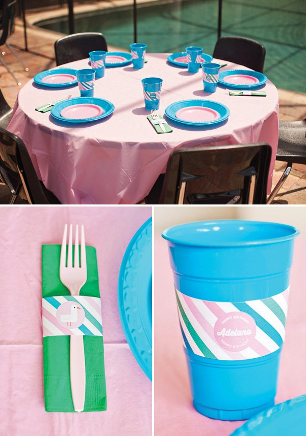 pink, green and blue mermaid birthday party tablescape