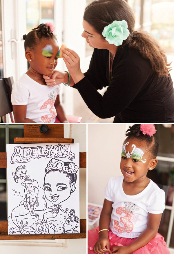 mermaid party face painting and caricatures