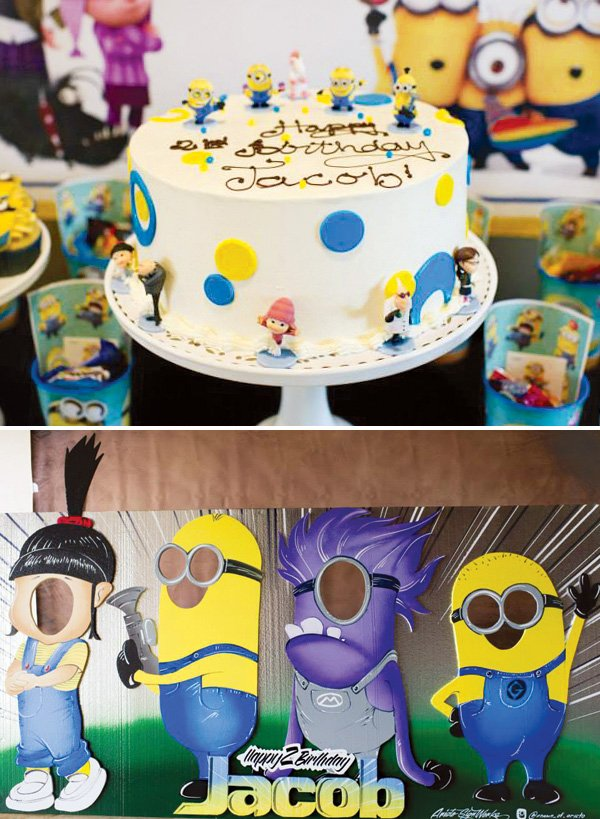 despicable me minion topped birthday cake and character cut outs