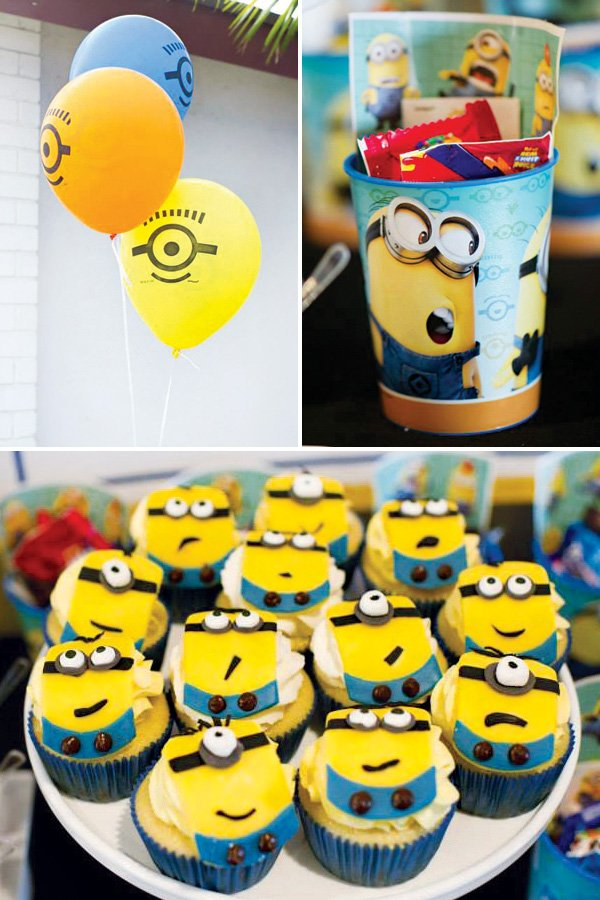 Minion Birthday Party Decor And Cupcakes