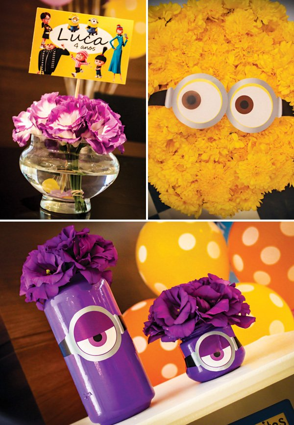 minion birthday party flower decor