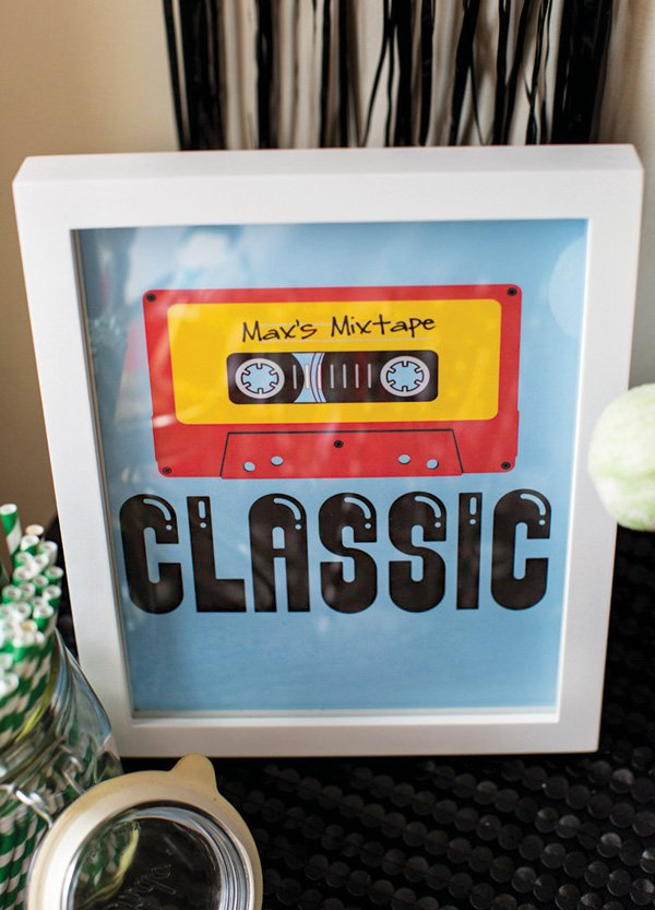 classic mixtape birthday party sign
