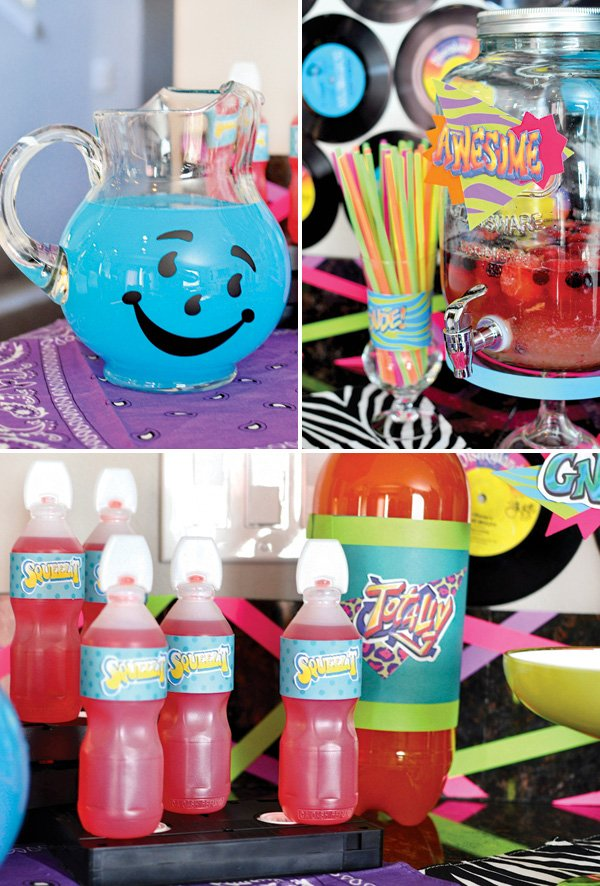 neon birthday party drinks like squeezit and kool-aid
