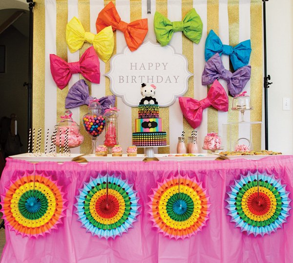 neon rainbow hello kitty brthday party dessert table