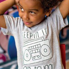 old school boombox kid's shirt