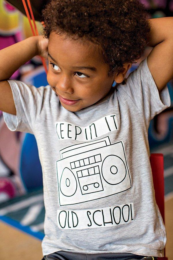 old school boombox kid's shirt