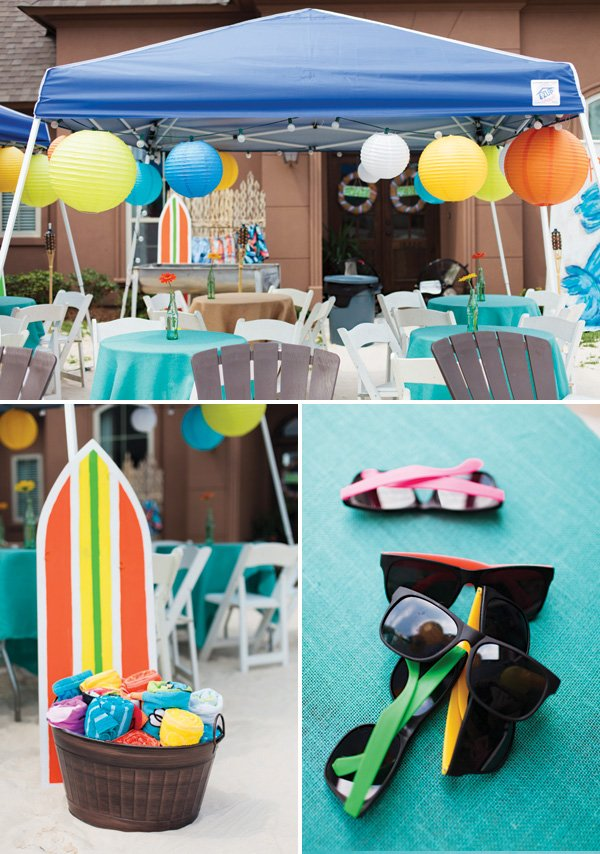 outdoor beach party tablescape and favors
