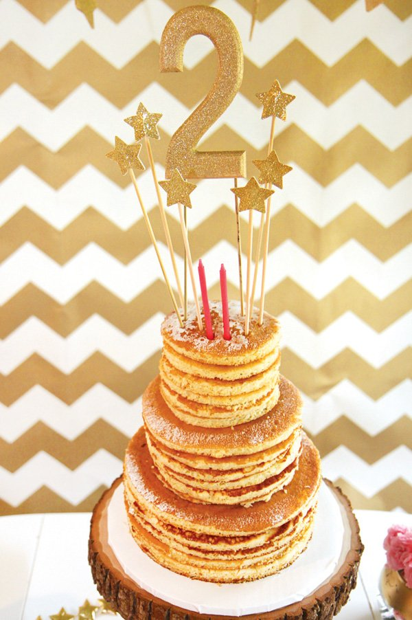 pancake stack birthday cake for a morning brunch party