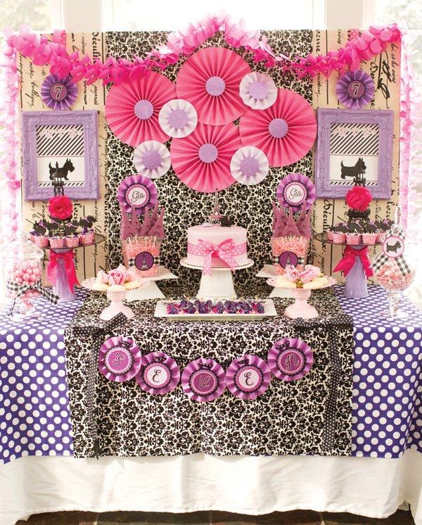 parisian birthday party dessert table