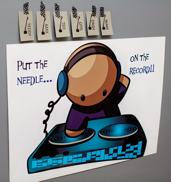 pin the needle on the record party game