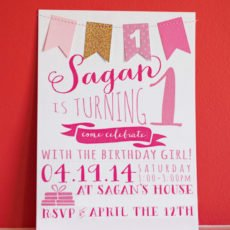 pink first birthday party invitation
