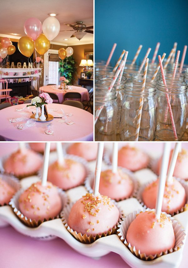 pink and gold birthday party desserts