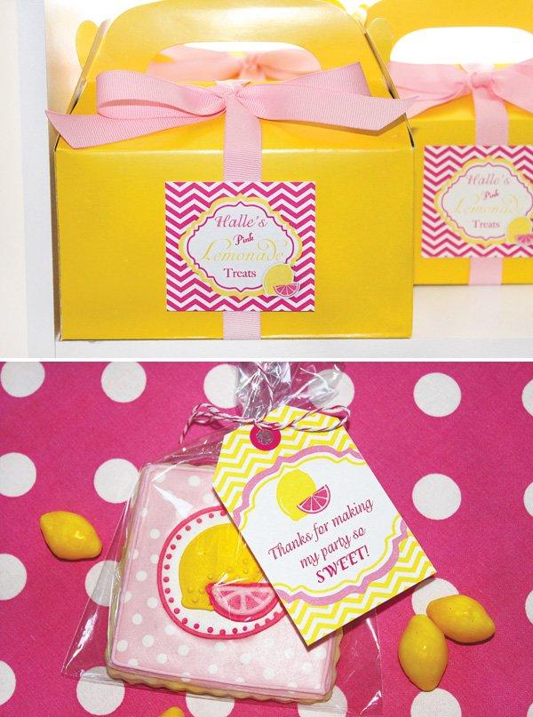 pink lemonade cookie favors