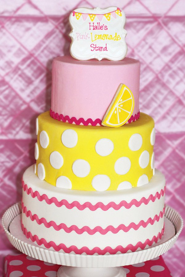 pink lemonade polka dotted birthday cake