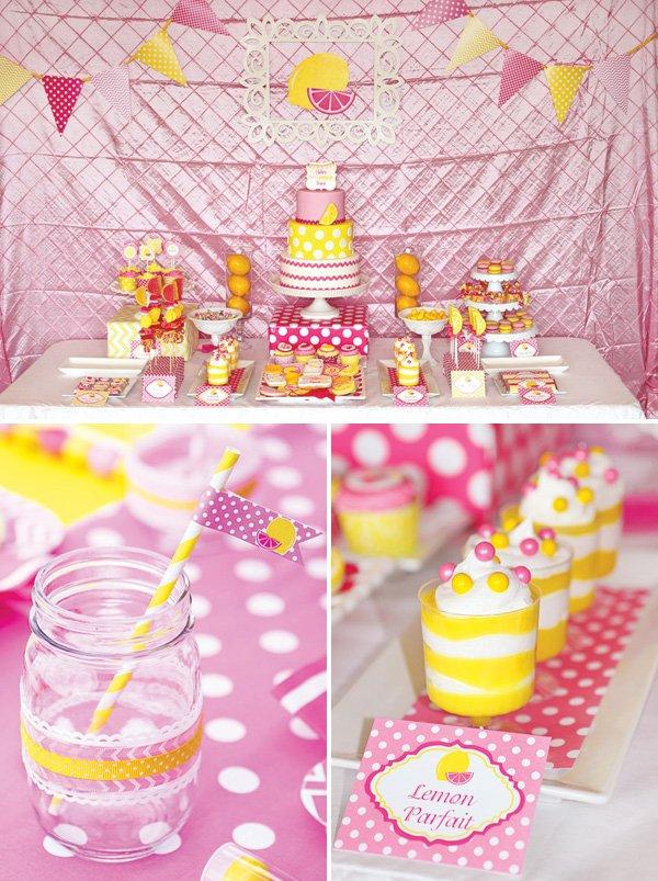 pink lemonade birthday party dessert table