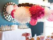 hanging pink and white pom bundle