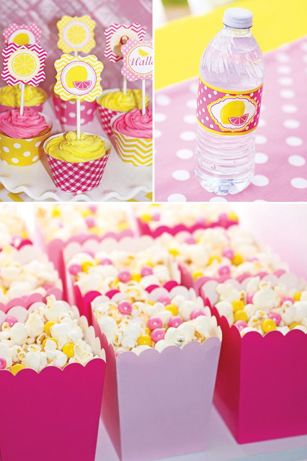 pink and yellow birthday party desserts and printables