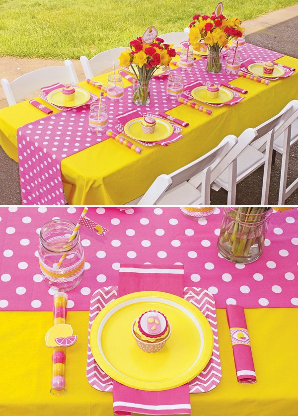 pink and yellow lemonade birthday party tablescape