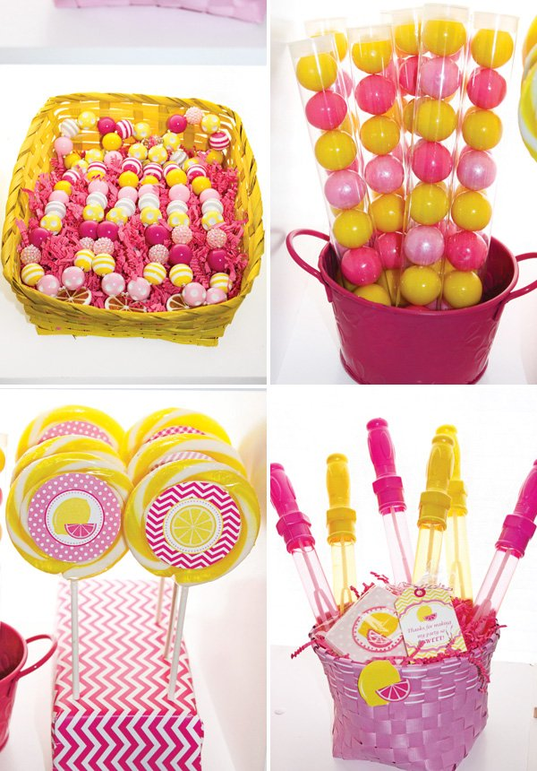 pink and yellow party favors