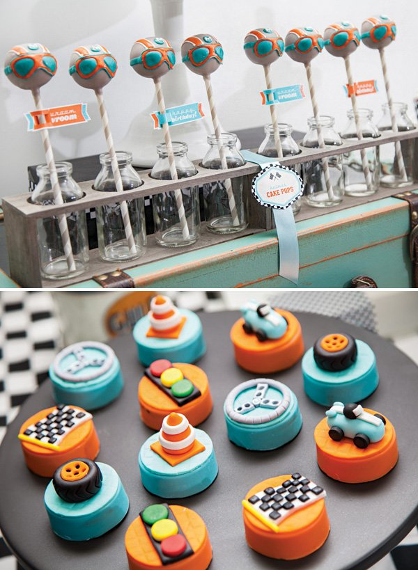 pit crew race car driver helmet cake pops and driving themed chocolate covered oreos