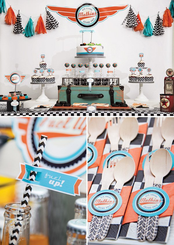 pit racing birthday party dessert table