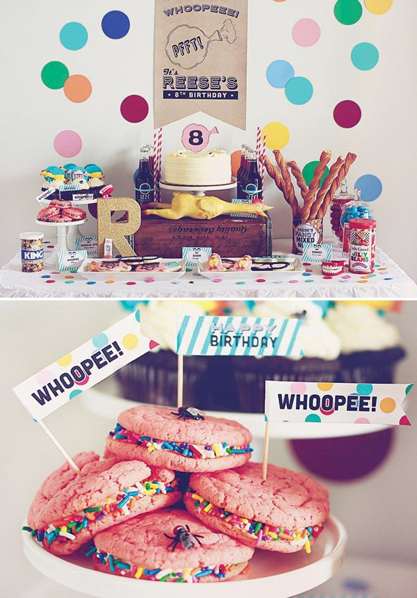 practical joke birthday party dessert table and whoopee pies