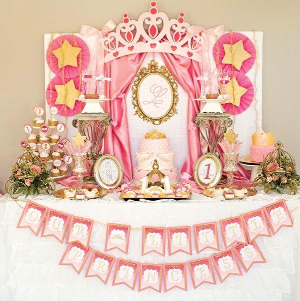 royal princess first birthday party dessert table