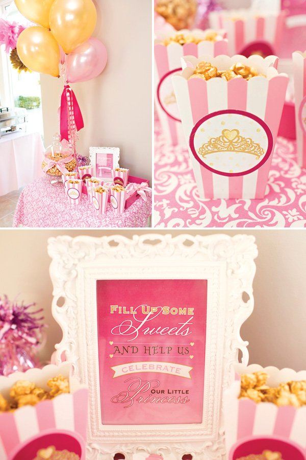 princess party sweets table caramel corn box party favors