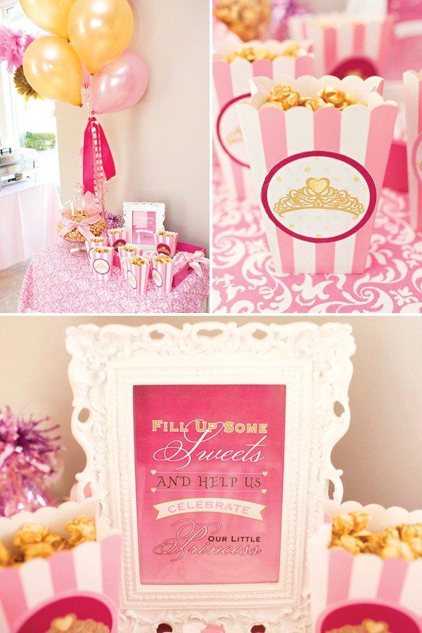 princess party sweets table caramel corn box party favors