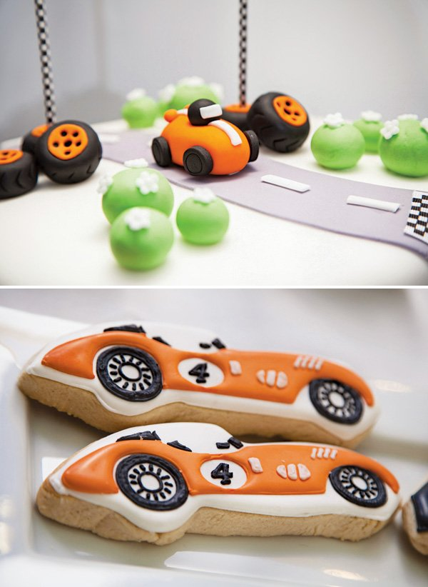 race car birthday cake topper