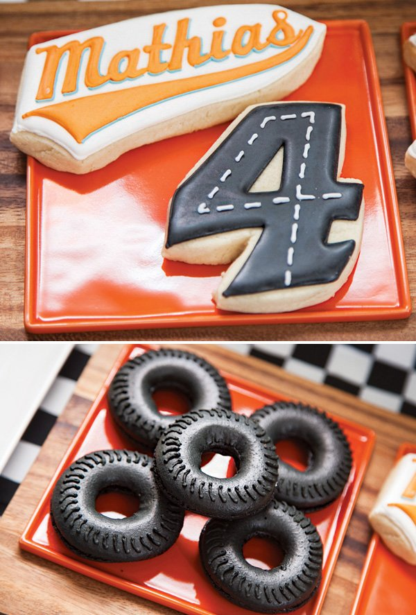 race car birthday party cookies and tire doughnuts