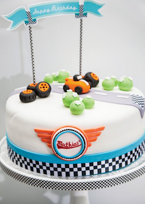 race car grand prix birthday cake