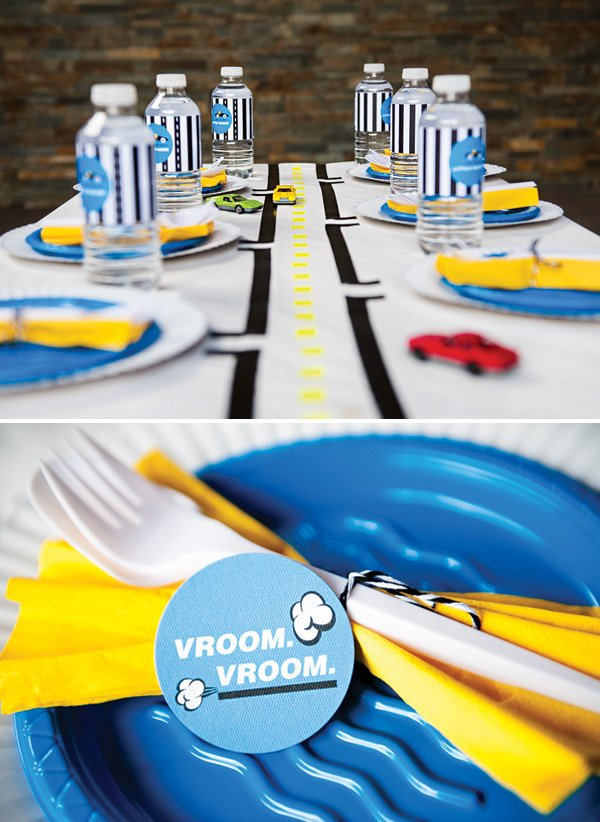 race car roads on a kids' tablescape