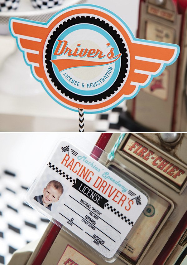 race car birthday party drivers licenses