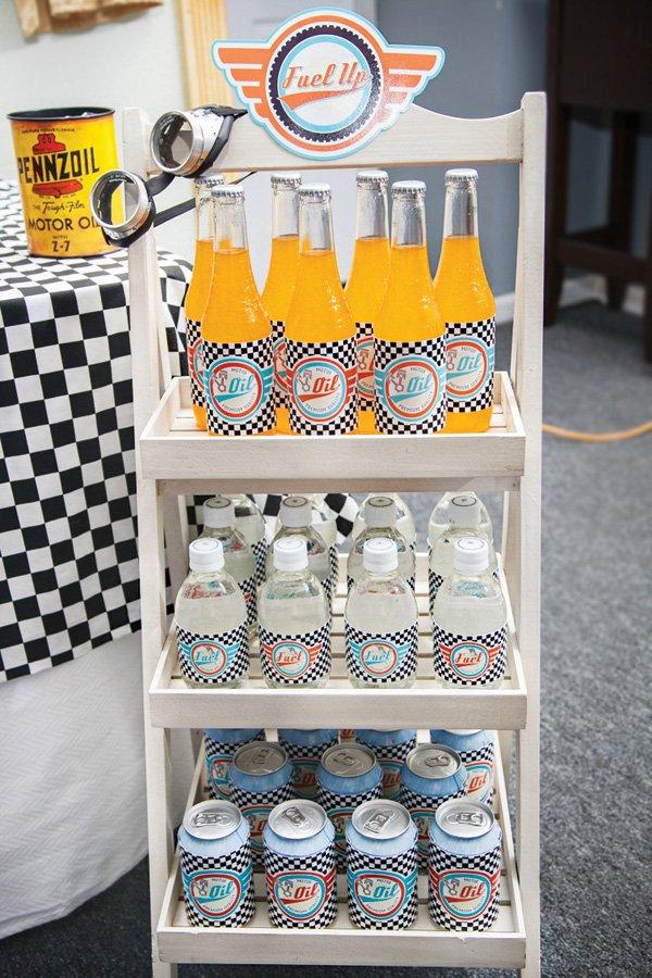 race car birthday party fuel drinks