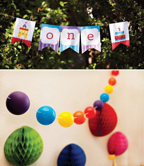 rainbow party ball garland and royal birthday banner