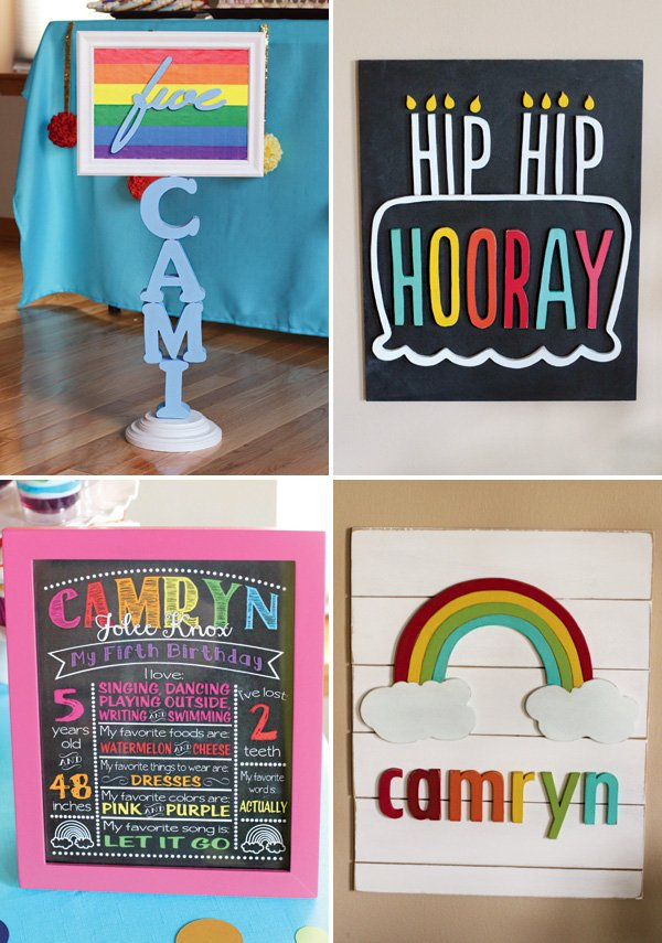 rainbow birthday party signs