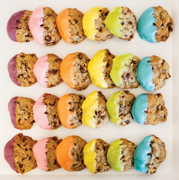rainbow chocolate dipped cookies