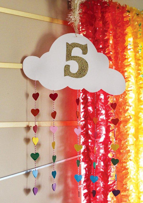 DIY rainbow cloud party decor