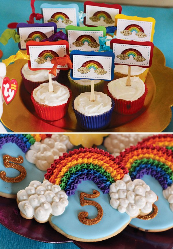rainbow party cookies and cupcakes