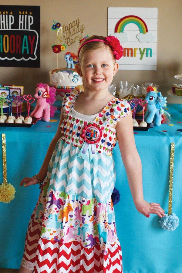 rainbow birthday party pony dress