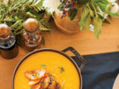 roasted butternut squash soup plating display