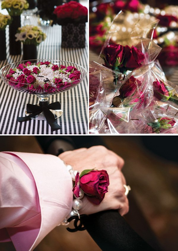 rose boutonniere and bracelet party favors
